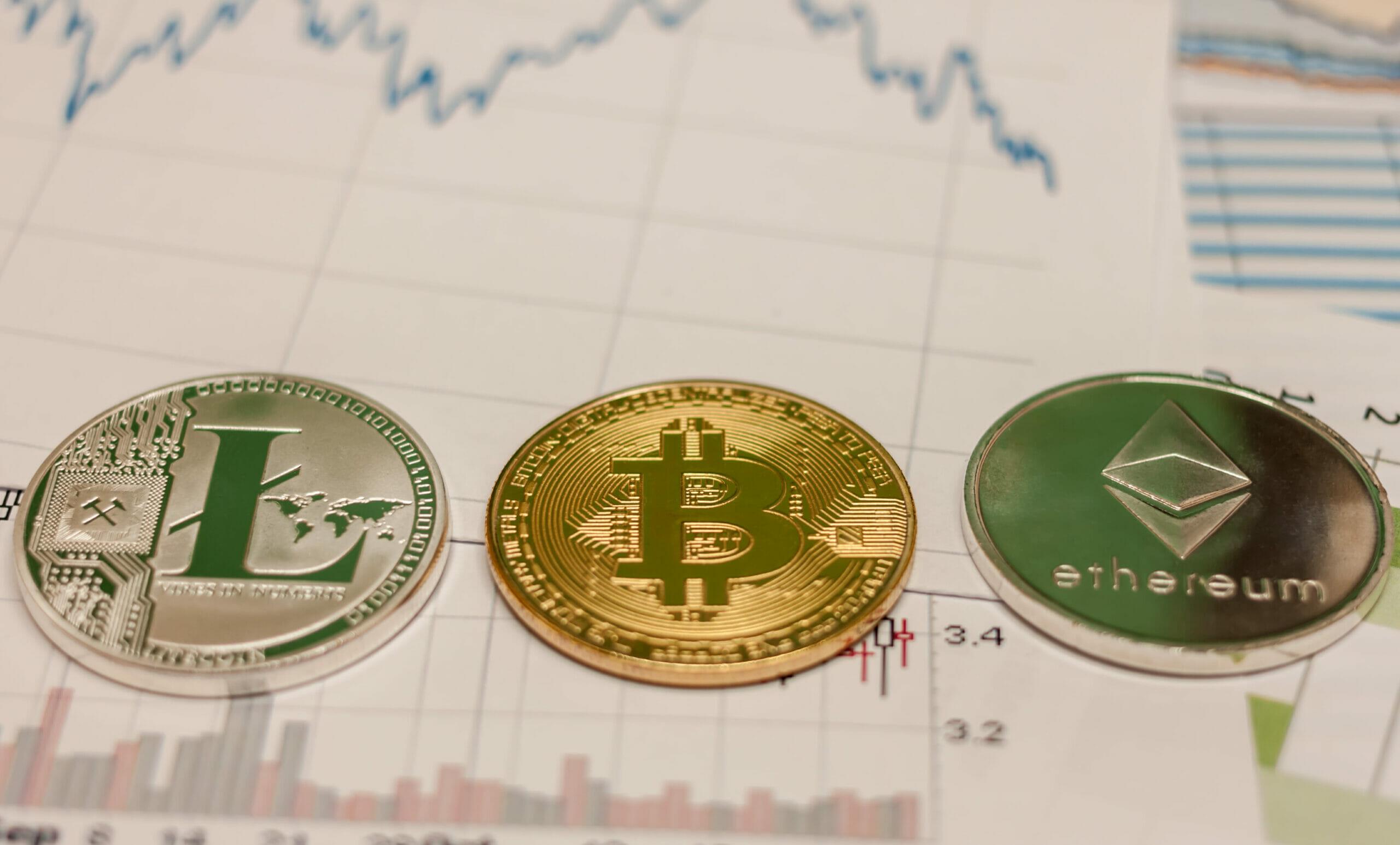 bitcoin ethereum litecoin coin and chart