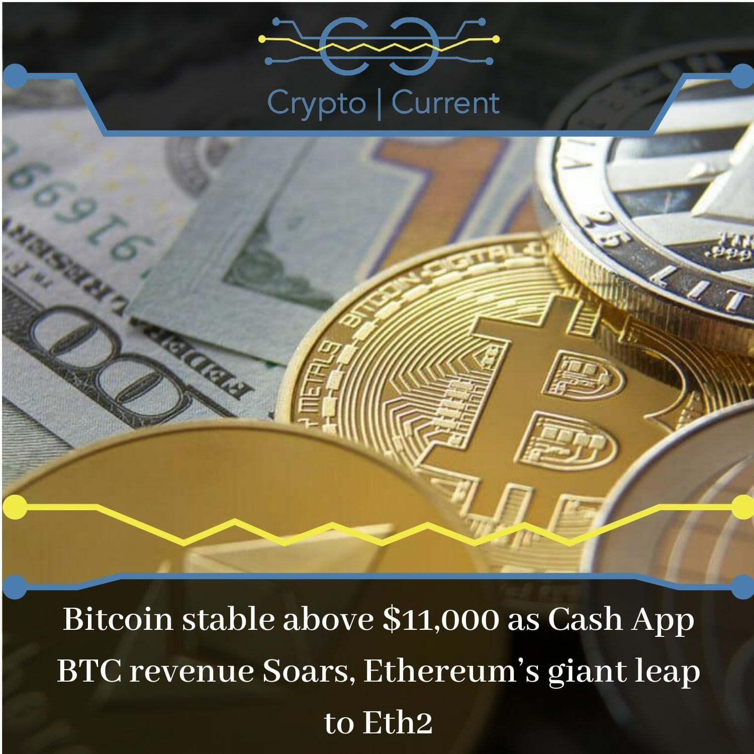 Bitcoin stable above $11,000 as Cash App BTC revenue Soars, Ethereum's giant leap to Eth2