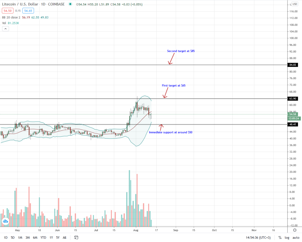 Litecoin Price Daily Chart for Aug 13