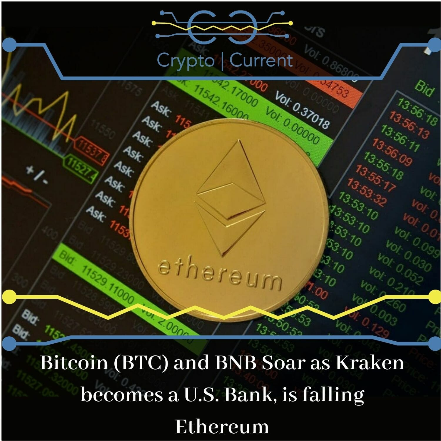 Bitcoin (BTC) and BNB Soar as Kraken becomes a U.S. Bank, is falling Ethereum