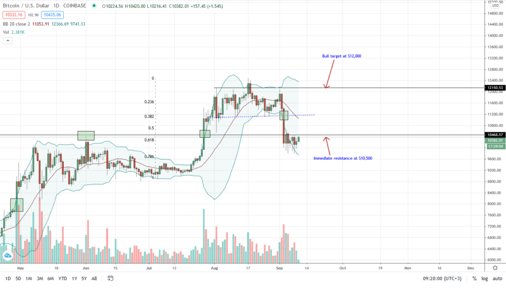 Bitcoin price daily chart by Trading View