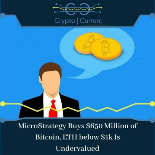 MicroStrategy Buys $650 Million of Bitcoin, ETH below $1k Is Undervalued