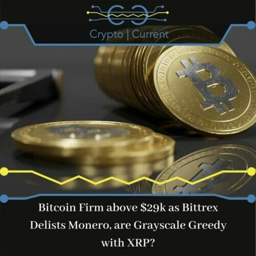 Bitcoin Firm above $29k as Bittrex Delists Monero, are Grayscale Greedy with XRP?