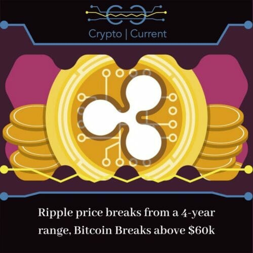 Ripple price breaks from a 4-year range, Bitcoin Breaks above $60k