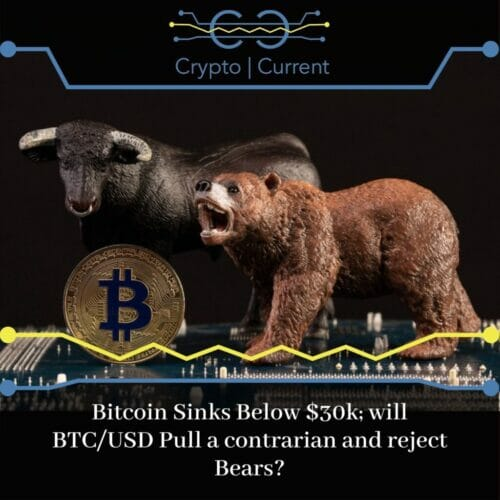 Bitcoin Sinks Below $30k; will BTC/USD Pull a contrarian and reject Bears?